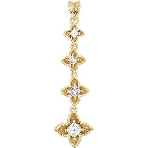 Pendant, 14K Yellow  1/2 CTW Journey Diamond Linked Floral-Inspired Pendant