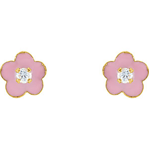 14K Yellow Youth Pink Enamel Flower & Cubic Zirconia Earrings