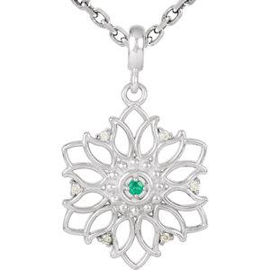 Sterling Silver Emerald & .03 CTW Diamond 18