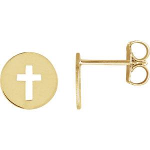 14K Yellow Pierced Cross Earrings