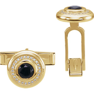 14K Yellow Men-s Onyx & Diamond Cuff Links