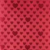 Red Foil with Metallic Hearts Gift Wrap