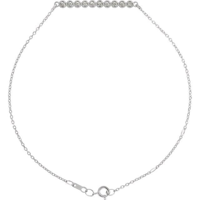 14K White 1/8 CTW Diamond Bar 6 1/2-7 1/2