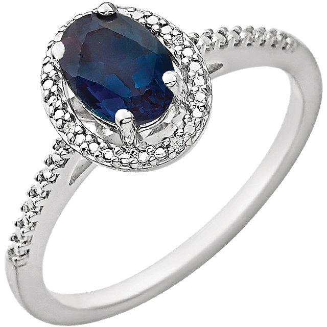 Sterling Silver Lab Created Alexandrite & .01 CTW Diamond Ring