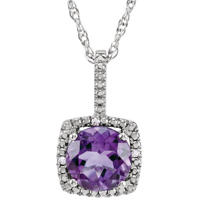Sterling Silver Amethyst & .015 CTW Diamond 18