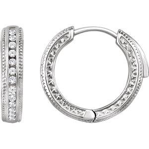 14K White 1/5 CTW Diamond Hoop Earrings