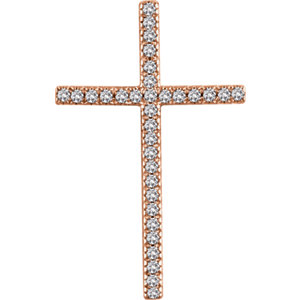 Pendant, 14K Rose 1/2 CTW Diamond Cross Pendant