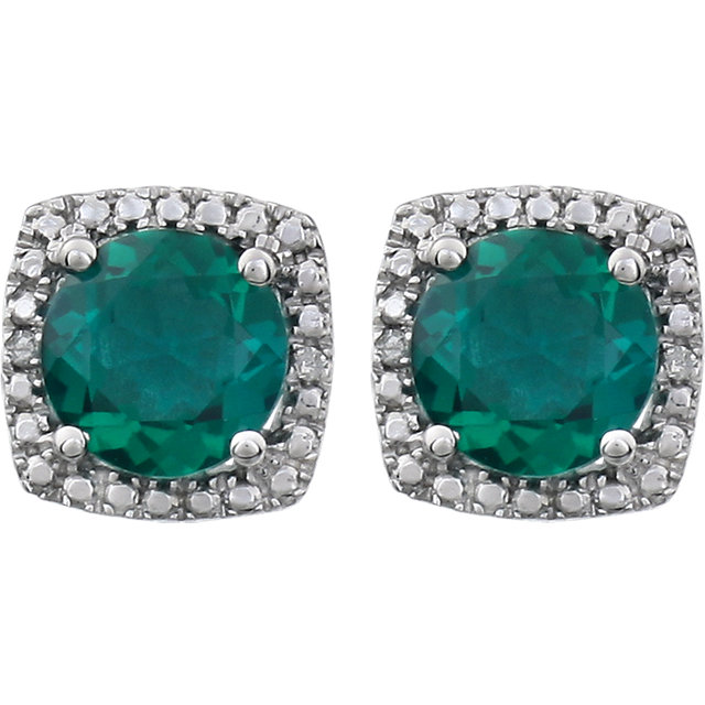 Sterling Silver Created Emerald & .015 CTW Diamond Earrings