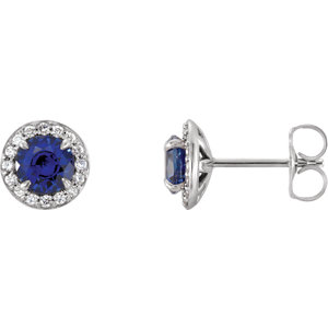 Earrings , Sterling Silver 5mm Round Chatham® Created Sapphire & 1/6 CTW Diamond Earrings