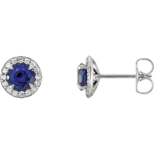 14K White 4.5 mm Round Blue Sapphire & 1/6 CTW Diamond Earrings