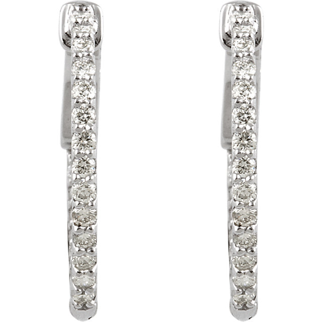 14K White 1/2 CTW Diamond Inside/Outside Hoop Earrings