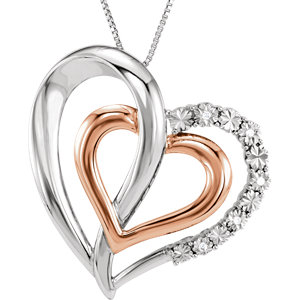 14K Rose Gold-Plated Sterling Silver .03 CTW Diamond Heart 18