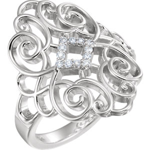 Sterling Silver 1/10 CTW Diamond Scroll Design Ring Size 7