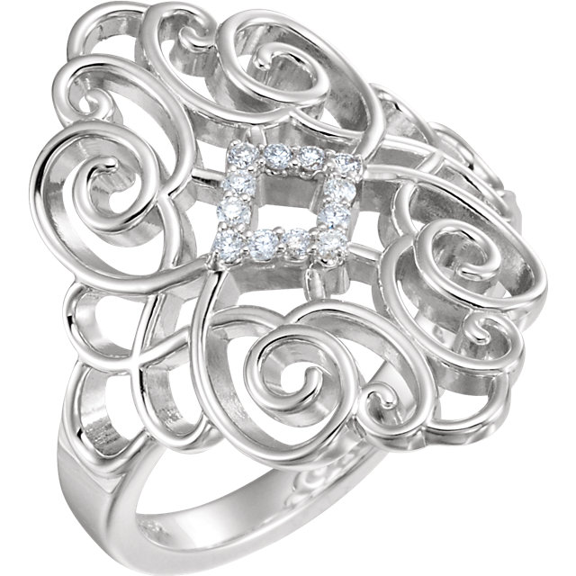 Sterling Silver 1/10 CTW Diamond Scroll Design Ring Size 6