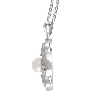 Sterling Silver Freshwater Cultured Pearl & 1/8 CTW Diamond 18