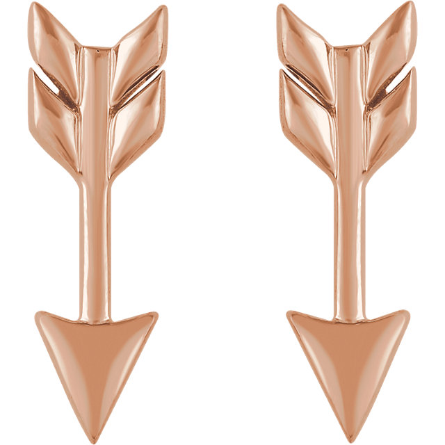 14K Rose Arrow Earrings