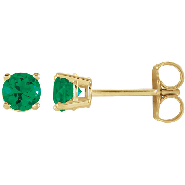 14K Yellow 4 mm Round Chatham® Created Emerald Earrings