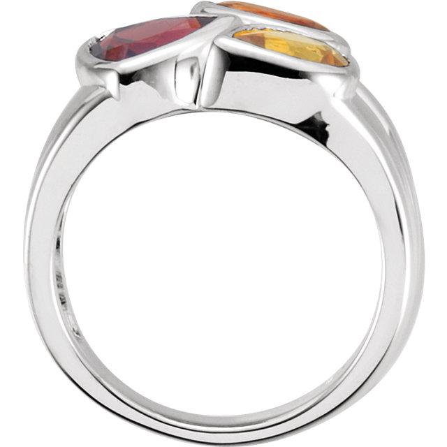 Sterling Silver Mozambique Garnet, Madeira Citrine, & Citrine Ring Size 6