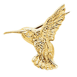 Brooche, Pin , 10K Yellow 19x21mm Hummingbird Brooch