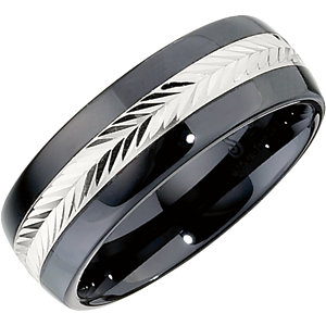 Ceramic Couture® & Sterling Silver Inlay 8mm Domed Band Size 6