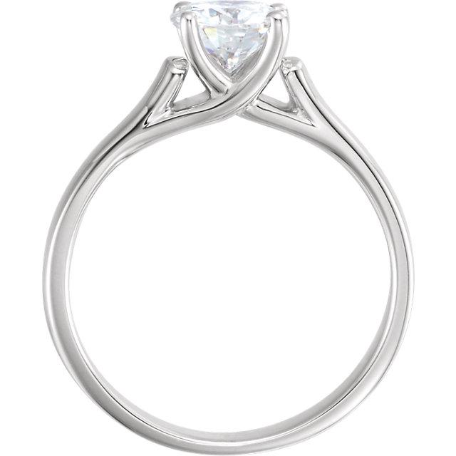 14K White 6.5mm Round Forever Brilliant® Moissanite Engagement Ring