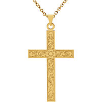 Floral Detail Cross Pendant with Bail