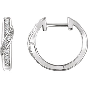 14K White .05 CTW Diamond Hoop Earrings