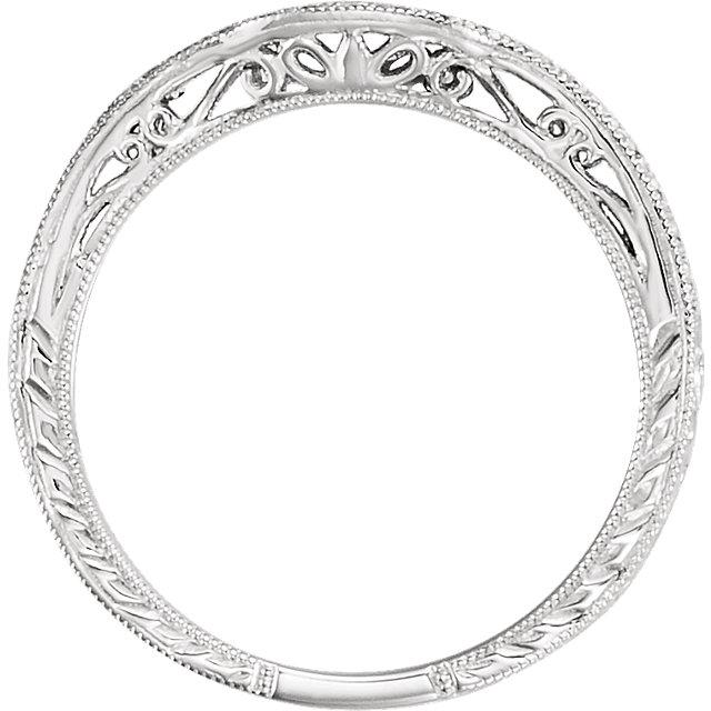 14K White 1/10 CTW Diamond Filigree Band