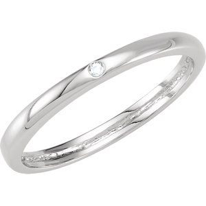 Sterling Silver Cubic Zirconia Stackable Ring Size 6