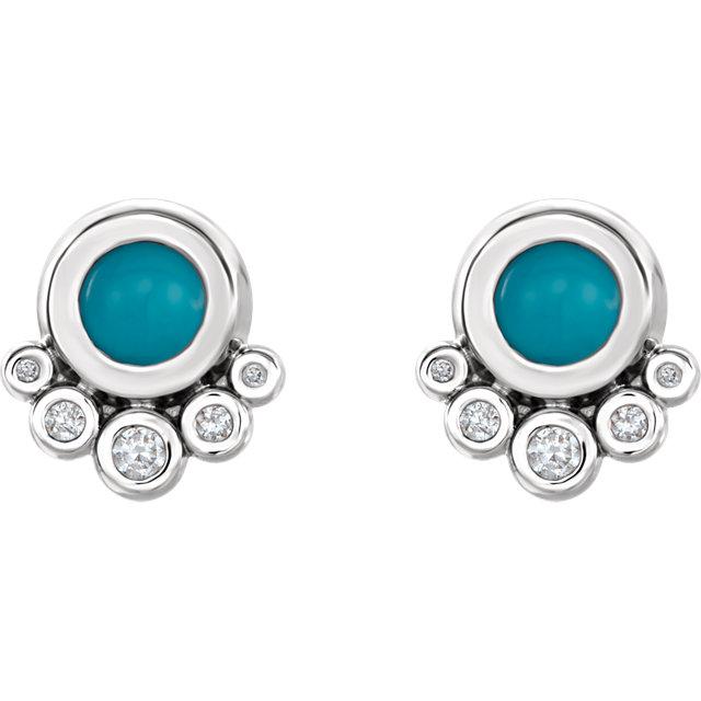 14K White Turquoise & 1/8 CTW Diamond Earrings