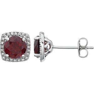 Earrings , Sterling Silver Mozambique Garnet & .015 CTW Diamond Earrings