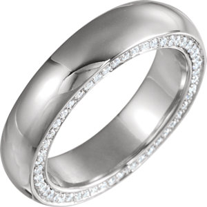 14K White 6 mm 3/4 CTW Diamond Accented Band Size 10