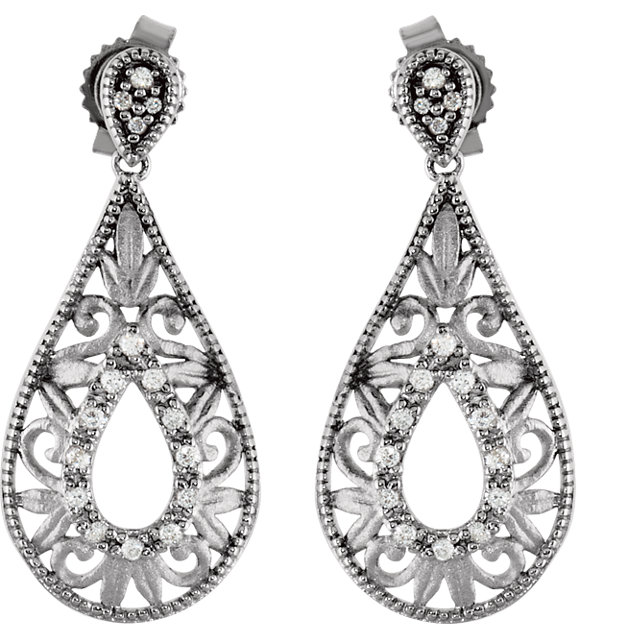 Sterling Silver 1/10 CTW Diamond Earrings