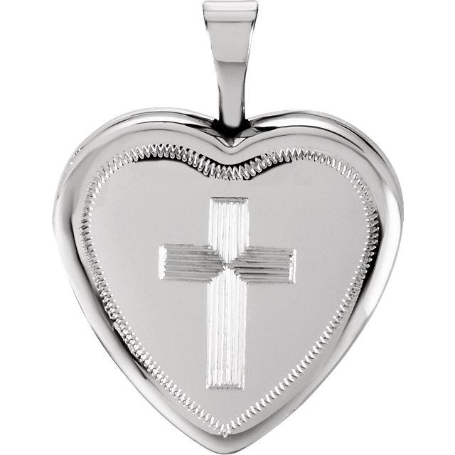 Sterling Silver 16x15.75mm Cross Heart Locket