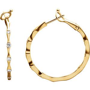 14K Yellow 1/2 CTW Diamond Inside/Outside Hoop Earrings