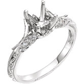 Hand-Engraved Accented Engagement Ring or Band