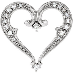 14K White 1/5 CTW Diamond Heart Pendant Slide