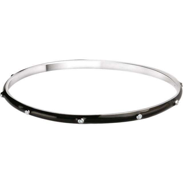 Sterling Silver 1/10 CTW Diamond Black Enamel Bangle Bracelet