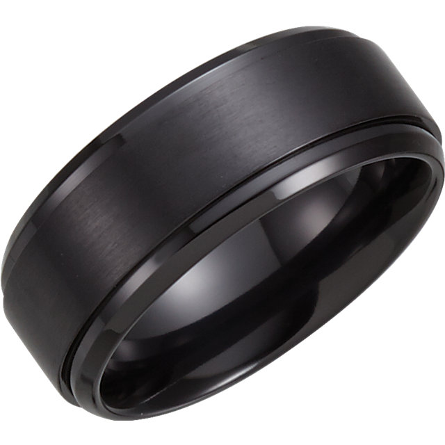 Black Titanium 9 mm Ridged Band Size 9