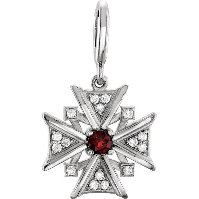 Sterling Silver Mozambique Garnet & Diamond Charm
