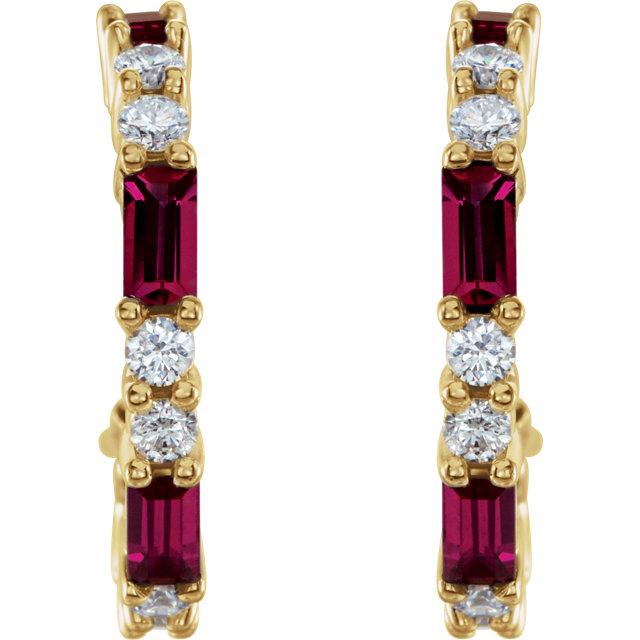 14K Yellow Chatham® Created Ruby & 1/2 CTW Diamond Earrings