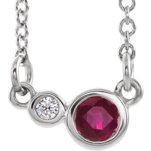 14K White Ruby & .02 CTW Diamond 16