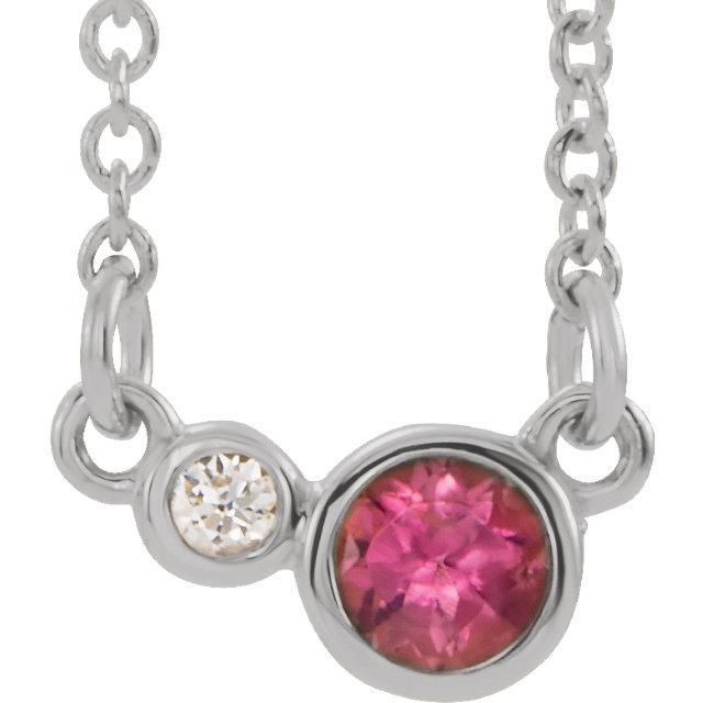 14K White Pink Tourmaline & .02 CTW Diamond 18