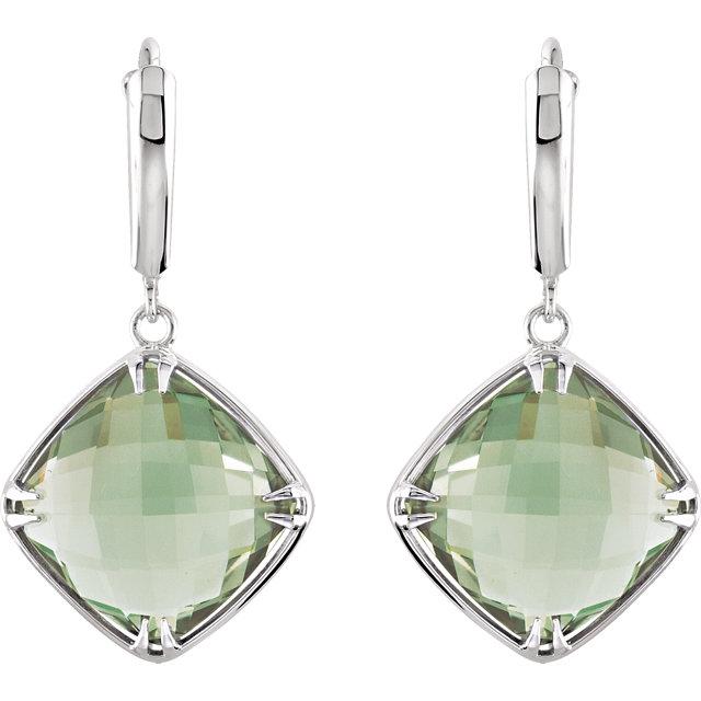 Sterling Silver Green Quartz Earrings
