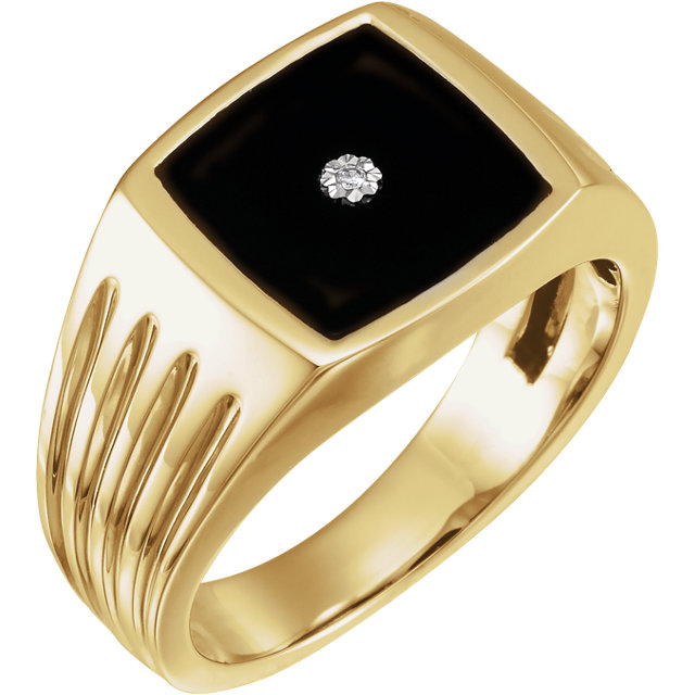 14K Yellow Men-s Onyx & .005 CTW Diamond Ring