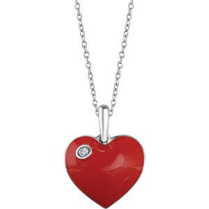 Sterling Silver .02 CTW Diamond Red Enamel Heart Necklace