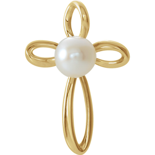 14K Yellow Freshwater Cultured Pearl Cross Pendant