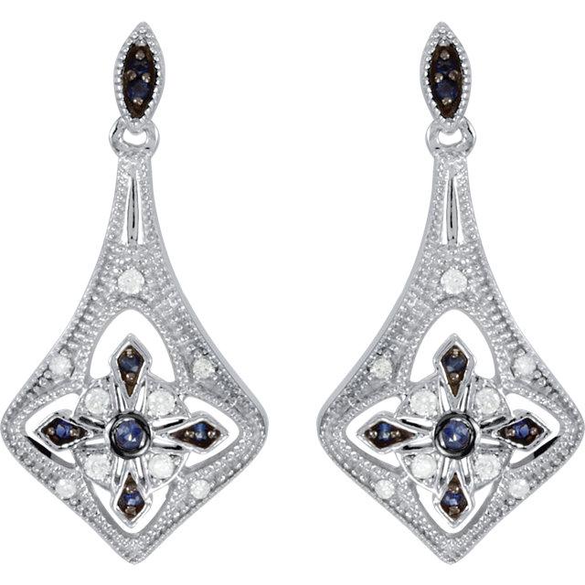Sterling Silver Blue Sapphire & 1/8 CTW Diamond Earrings