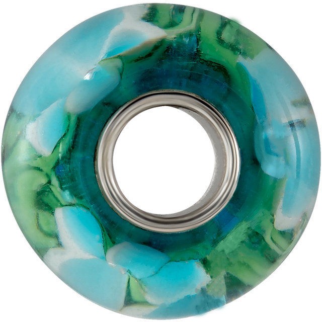Sterling Silver 14x10 mm Blue Turquoise Flower Glass Bead