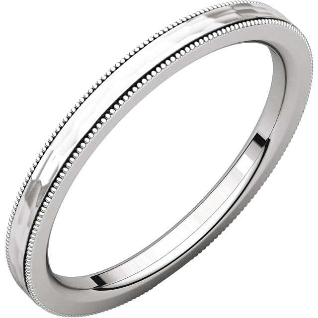 14K White 2mm Flat Milgrain Comfort-Fit Satin & Hammer Finish Band Size 7